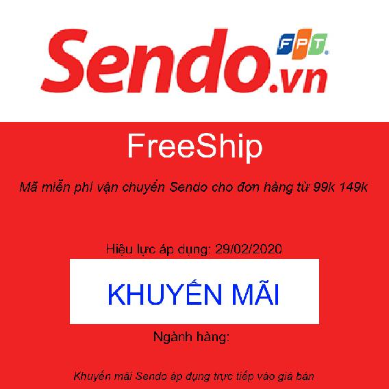 Mã miễn phí vận chuyển Sendo cho đơn hàng từ 99k 149k