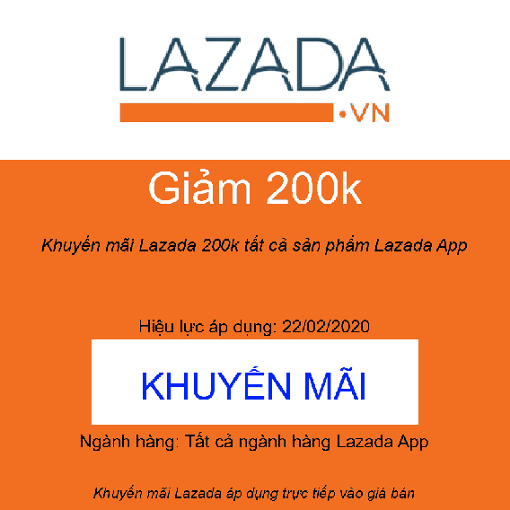 Khuyến mãi Lazada 200k tất cả sản phẩm Lazada App
